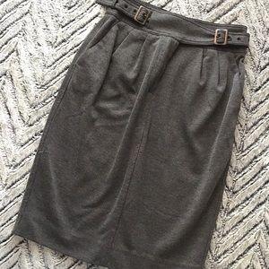 Maeve Gray Pleated Ponte Pencil Skirt Sz 4